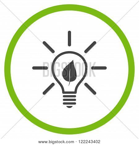 Eco Light Bulb vector bicolor icon. Image style is a flat icon symbol inside a circle, eco green and gray colors, white background.