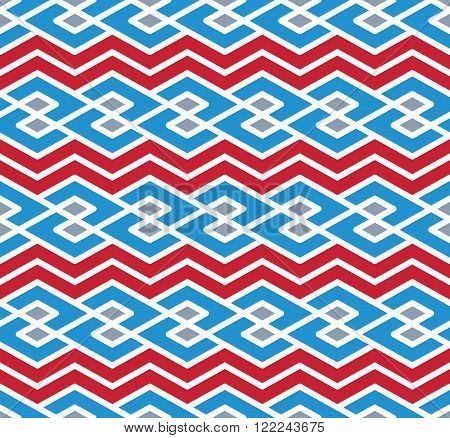 Bright abstract seamless pattern with interweave lines. Vector colorful background with stripes. Endless decorative background.
