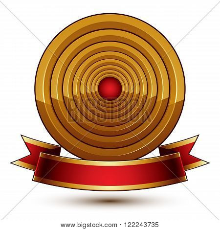 Design Vector Golden Ring Template With Red Curvy Ribbon, 3D Round Aristocratic Badge Isolated On Wh