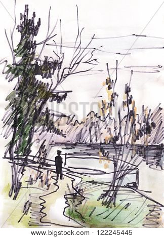 Autumn landscape. Man standing near landing stage