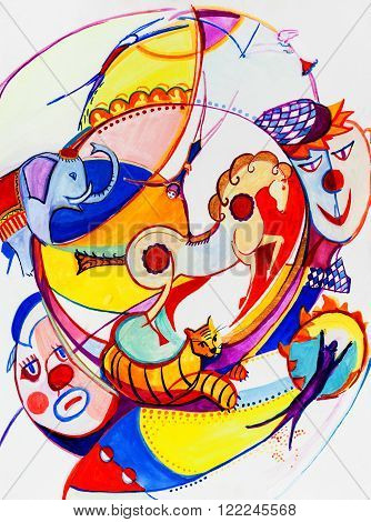 Circus in our imagination in a cubism manner
