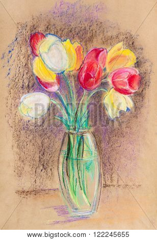 Bouquet of the tulips in glass vase