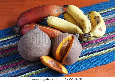 Whole and sliced mamey fruit with bananas on a colorful place mat