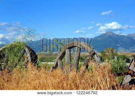 Rotting wooden wagon wheels lay buried in weeds in Paradise Valley Montana. Mountains loom in the distance.