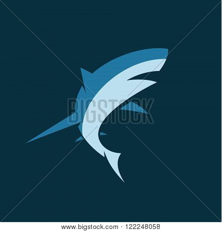 Modern sharks picture illustration for business two color option mammal flat art