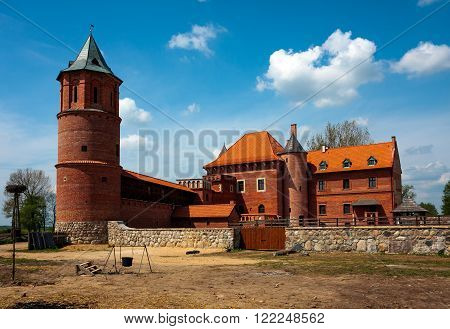 TYKOCIN TOWN, POLAND - MAY 10, 2010: 15th century Gothic castle in Tykocin during the reconstruction work