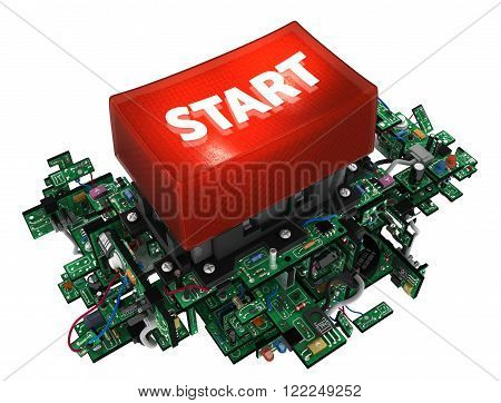 Big red start button with electronic circuit elements isolated