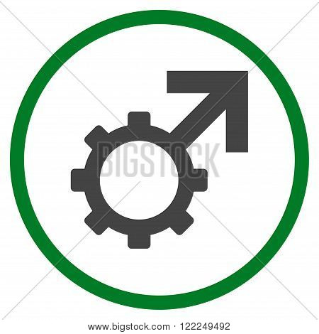 Technological Potence vector bicolor icon. Image style is a flat icon symbol inside a circle, green and gray colors, white background.