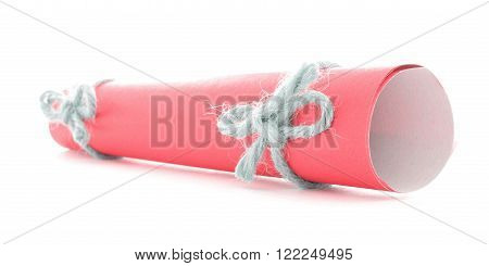 Red letter scroll tied with cord, natural knots couple, isolated
