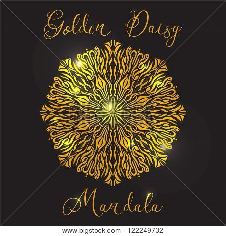 Vector Beautiful Flower Golden Daisy. Golden mandala with highlights. Geometric circle element made in vector. Decorative elements for any kind of design or Logotype.
