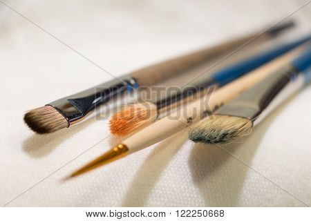 Several macro brushes for painting artist supplies