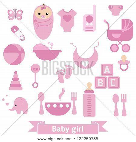 Baby girl icons set. Childbirth and motherhood.