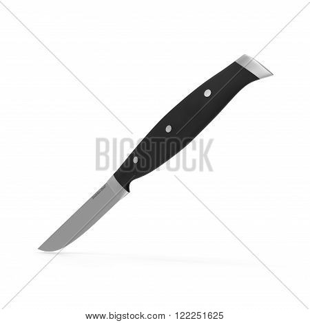 Steak knife, with black handle, isolated on white background