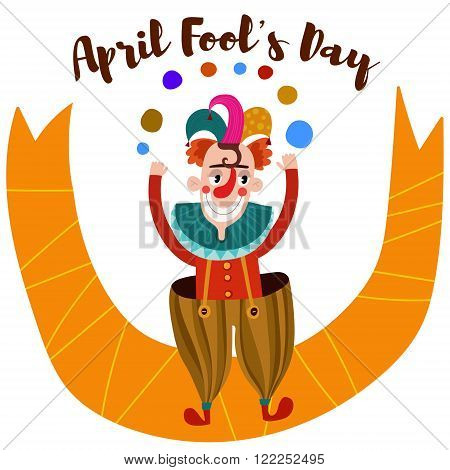 April Fool's Day-funny  Card With Cartoon Clown-stock Vector