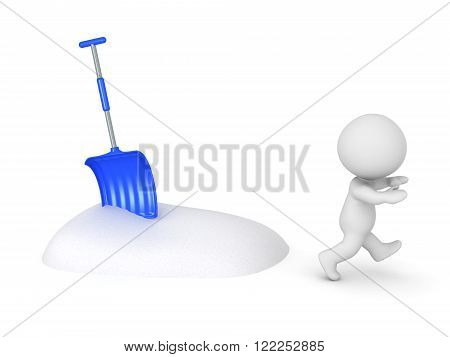 3D character running away from a pile of snow and a snow shovel. Isolated on white background.