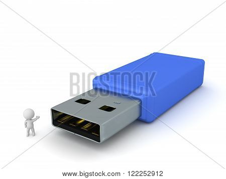 3D character showing a large blue USB stick. Isolated on white background.