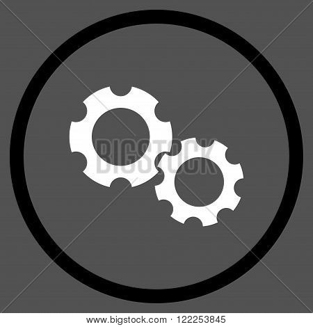 Engine Components vector bicolor icon. Picture style is flat gears rounded icon drawn with black and white colors on a gray background.