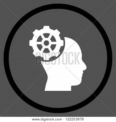 Head Gear vector bicolor icon. Picture style is flat head gear rounded icon drawn with black and white colors on a gray background.