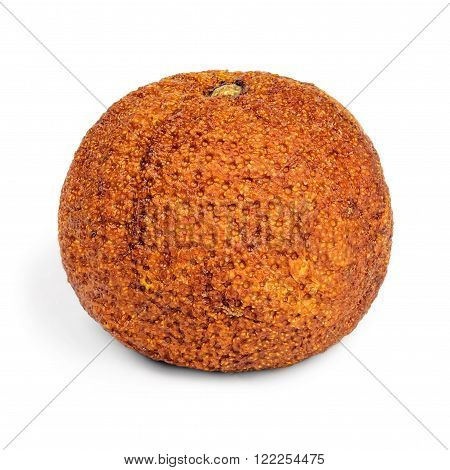 The old wrinkled stale overripe mandarins isolated on white background.