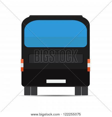 Black bus rear. Stock vector. Vector illustration.