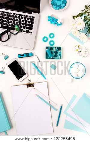 Still life of fashion woman,  top view of blue fashion woman objects on white. Concept of female mockup