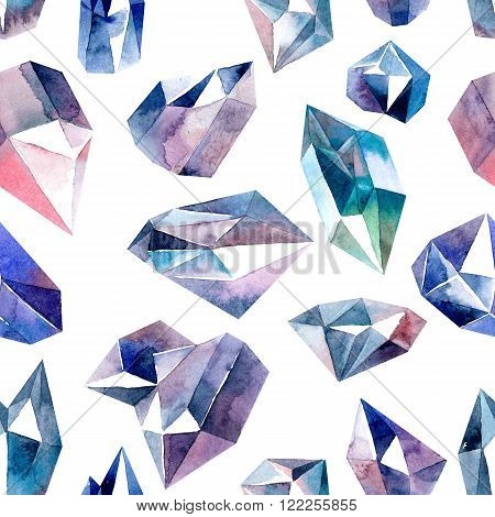 Watercolor illustration of diamond crystals - seamless pattern