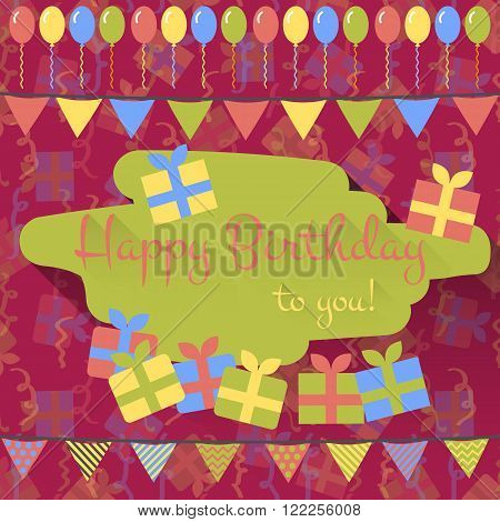Birthday card with balloons gifts and garlands in flat style on maroon background with gifts and holiday tinsel. Flat design card. Happy birthday greeting. Vector illustration