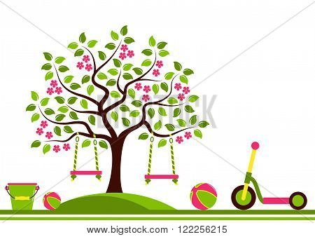 vector seamless border with flowering tree with swings and toys isolated on white background