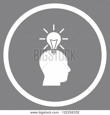 Genius Bulb vector icon. Picture style is flat genius bulb rounded icon drawn with white color on a gray background.