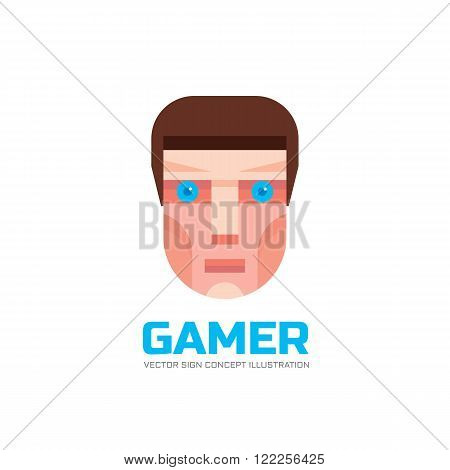 Gamer - vector logo concept illustration in flat style design. Human head logo sign. Human face logo sign. Geek logo icon. Human cartoon head illustration. Vector logo template. Design element.