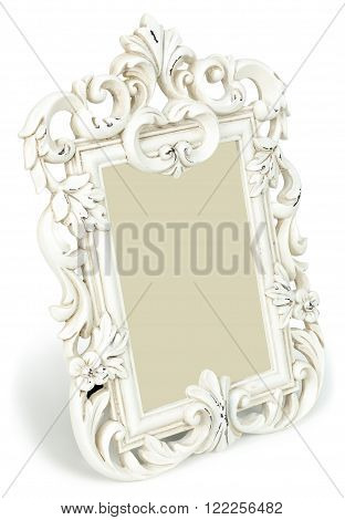 Vintage photo frame standing at an angle isolated on white background.
