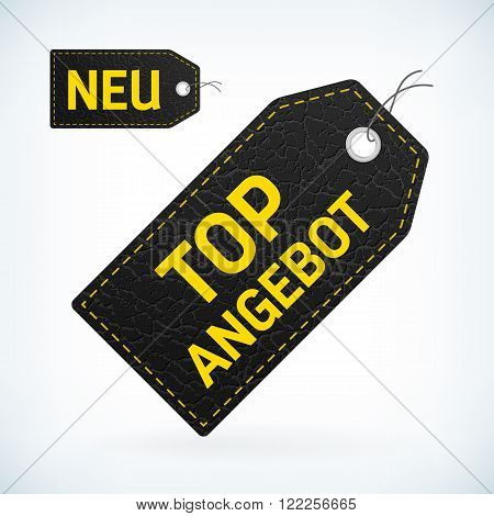 black leather label with yellow text new and top offer editable vector illustration