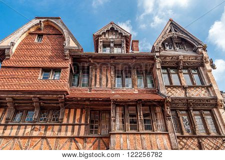 View of the Manoir de la Salamandre a historic lordly Tudor style house in Etretat, Normandy, France