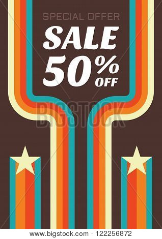 Vintage sale 50% off vector flyer. Sale abstract vector verticall banner in retro style - special offer 50% off. Sale vector banner. Sale abstract background. Super big sale design layout.
