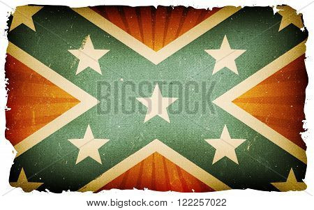 Illustration of an american confederate flag poster with blue cross and stars on red background retro and vintage design grunge textures for national holidays