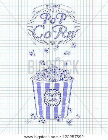 Beautiful Big Striped Carton Box Full Of Delicious & Fresh Popcorn. Vintage Inscription & Falling Po