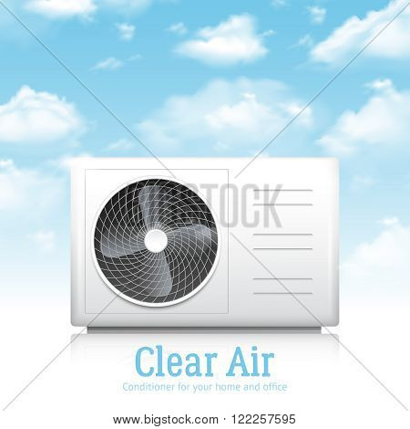 Air conditioner for home and office realistic background with clear air symbols vector illustration