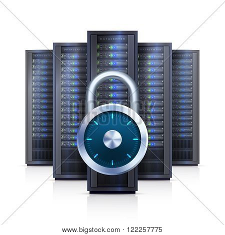Computer server racks with security lock symbol black on white background realistic vector illustration