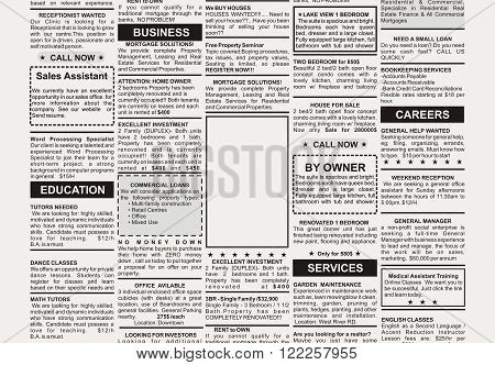 Fake newspaper, Classified Ad for business concept