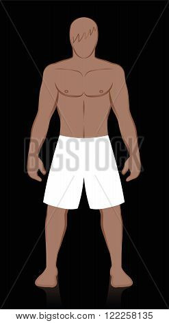 Bermudas - Blank white mens swimwear to be colored or filled with pattern. Isolated vector illustration on black background.