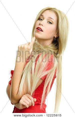 beautiful blonde woman portrait on white background