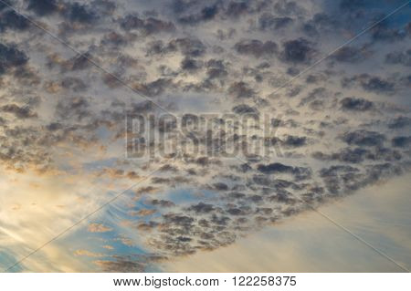 Different type of clouds on sunsrise sky