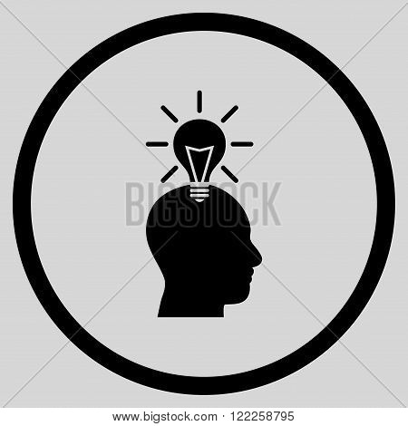 Genius Bulb vector icon. Picture style is flat genius bulb rounded icon drawn with black color on a light gray background.