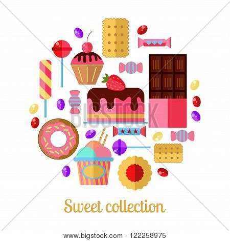 Sweets vector collection design as circle. Chocolate, cake, lollypop and other different sweets on white background.