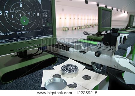 air rifle and 10m target monitor on sports competition