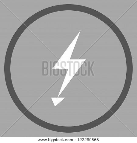 Electric Strike vector bicolor icon. Picture style is flat electric strike rounded icon drawn with dark gray and white colors on a silver background.