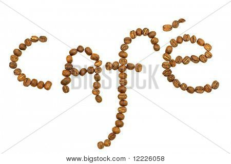 word cafe coffeebeans on white background