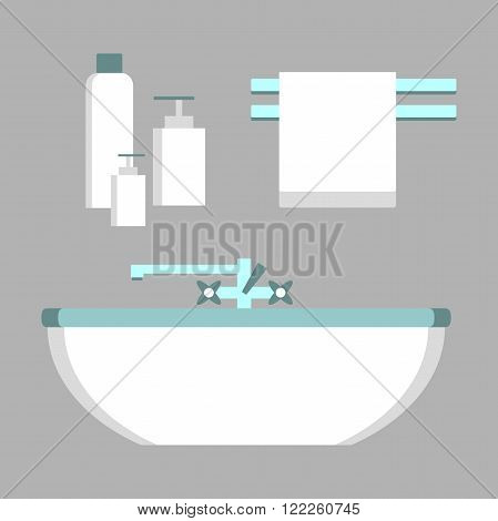 Set of bathroom elements. Bathroom equipment. Bathtub, towel. Bathroom design in flat style. Vector illustration.