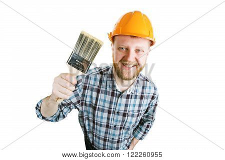 Bearded man in orange helmet with a paintbrush in his hand