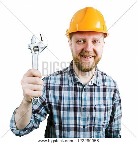 Bearded man with a wrench in his hand
